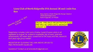 Lions Club 5 K and Fun Run 2021
