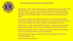 Lions Club 5 K and Fun Run 2021 Sponsor Info
