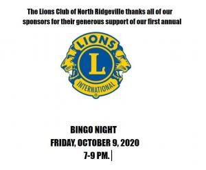 Lions Club Sponsor Thank you Bingo Night